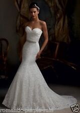 White/Ivory Lace Wedding Dress Bride Gown Size 2 4 6 8 10 12 14 16 18 20 22+