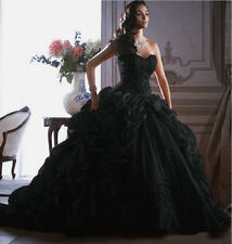 Black Sleeveless wedding dresses Ball Gown/Duchess bridal dress custom plus size