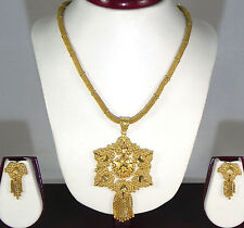 "Indian Fashion Jewelry 14"" long Gold Plated Pendant Chain Necklace Earrings set"