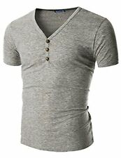Mens T-Shirt DT08 28 Doublju V-Neck T-shirts W/ Skull Button GRAY (US-M)