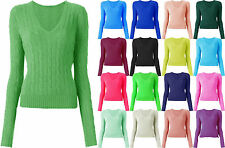 New Women's Ladies Luxury V Neck Cable Knitted Sweater Jumper Top Size 8-16