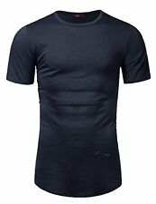 CMTTS0165-NAVY-M Doublju Mens Casual Round Neck Short Sleeve Tee W/ Bottom