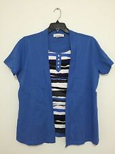 Collection L. Blue Short Sleeve Shirt Blouse Top w Jacket Plus Size 12 & 14 New