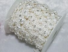 14mm Ivory Flower Pearl Rhinestone Chain Trims Sewing Costume Applique LZ22