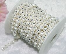 9mm Ivory Pearl Rhinestone Chain Trims Sewing Crafts Costume Applique LZ18