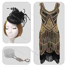Vintage 1920s Gatsby Downton Abbey Charleston Beaded sequin Fancy Flapper Dress