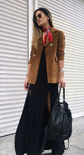 Zara Genuine Suede Leather Double Breasted Jacket Coat Tan S M BNWT Bloggers