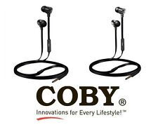 COBY CVE-115 Tangle Free Flat Cable REFLEX Stereo EARBUDS headphones With Mic