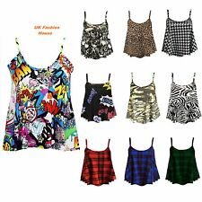 Womens Ladies Cami Sleeveless Swing Vest Top Strappy Printed Flared Plus Sizes.