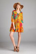 Cute Plus Size Orange Multi Color BoHo Gypsie Mini Dress Tunic 1X, 2X, 3X-New!