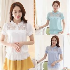 Women Embroidered Flounced Stand Collar Short Sleeves Solid Blouse Shirt Tops