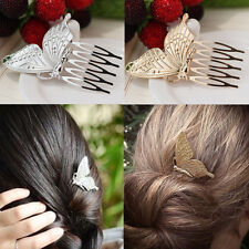 Popular Gold/Silver Butterfly Hair Comb Lady Charm Bride Pin Barrette Hair Clips