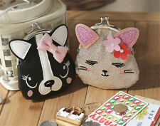Fashion Ladies Cute Cat Dog Animal  Hasp Clutch Coin Purse Wallet Mini Bag