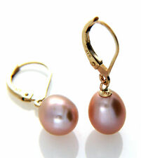 Hallmarked 9ct Gold Cultured Lavender Freshwater Pearl 7-8mm Leverback Earring