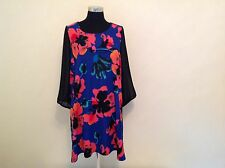 New Plus Size Floral print Tunic Top/Dress. Blue/Red/Black 3/4 Chiffon Sleeves