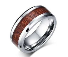 Rosewood Inlay Tungsten Ring Mens Bevel Wedding Band Size 7-12