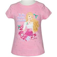 NEW BARBIE GIRLS PINK TOP TEE SHIRT SIZE 3,4