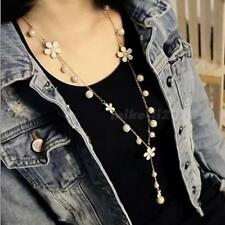 New Fashion Women Pearl Flower Necklace Long Chain Sweater Pendant Jewelry MKLG
