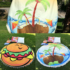 Women Coconut Printed Round Tassel Blanket Yoga Mat Cover-Up Smock Beach Towel