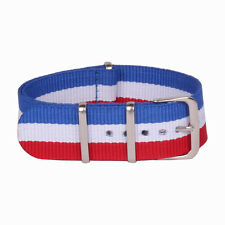 France flage Stripe Color Nato 18mm 20mm 22mm Nylon Watch Strap Wristwatch Band