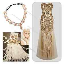 Roaring 20's 1920's Vintage Flapper  Gatsby Charleston Sequin 30's Style Dress