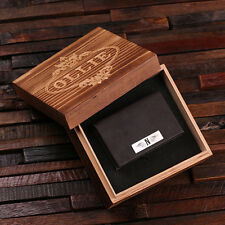 Personalized Leather Business Card Holder w/ or w/o Wood Gift Box Black or Brown