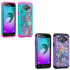 For Samsung Galaxy J7 Hybird Rubber Studded Diamond Protective Hard Case Cover