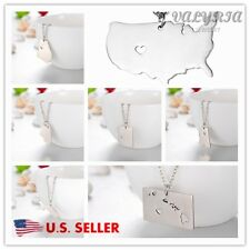 Stainless Steel Love United States Map Pendant Necklace State Maps Necklace 22''