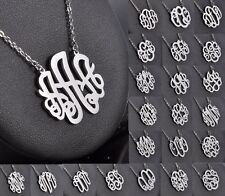 Monogram Style Necklace Script Letter Initial Pendant Necklace A-Z Letters