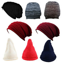 Women Girl Triangle Slouchy Knit Beret Beanie Hat Cap Black T1