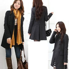Hot Womens Winter Double-Breasted Coat Slim Fit Trench worsted Jacket Parka