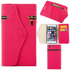Hot Pink Leather Wristlet Pouch Case Wallet Cover + Zipper For Apple iPhone 6/6s
