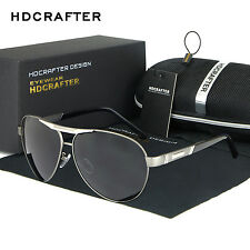 Mens Retro HD Polarized Aviator Driving Sunglasses Brand Designer Eyewear Shades