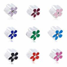 10pcs silver Filled European Bead Rainbow Flower Enamel  bracelets lot charm