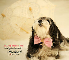 Pink Dog Bow Tie, Bow attached to dog collar, Pet Wedding accessory, Charm,Heart