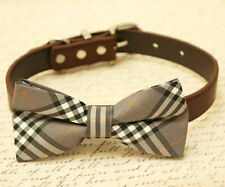 Gray Plaid bowtie Dog Bow Tie attached to black leather collar, Chic Dog Bow tie