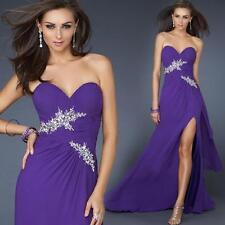 Purple Strapless Long Party Evening Formal Dress Sexy Slit Bridesmaid Prom Gown