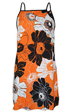 NEW Ex Wallis Ladies Gorgeous Orange & Black Large Floral Print Sleeveless Tunic