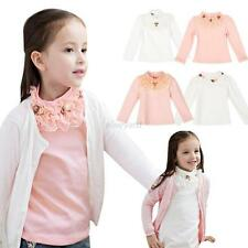 Baby Kids Girls Princess Party Long Sleeve T-shirt Lace Floral Tops Blouse 3-8Y
