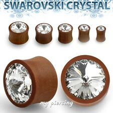 """PAIR of 2g to 5/8"""" Sawo wood Double Flare with Clear Swarovski Crystal Ear Plugs"""