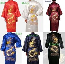 New Men's Silk/Satin Japanese Chinese Kimono Dressing Gown Bath Robe Nightwear