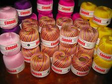 CANNON Size 8 Cotton CROCHET THREAD 9x175m PINK/VIOLET/YELLOW Mix, Select Combo