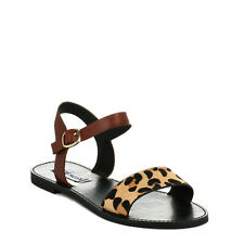 Steve Madden Womens Sandals Casual Summer Shoes Leopard Pony Dondii Ankle Strap