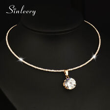 Round Cubic Zircon Pendant Choker Collar Necklace 18K Yellow/White Gold XL602
