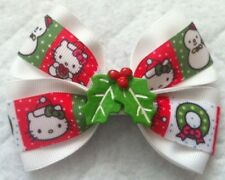 "Girls Hair Bow 4"" Wide Christmas Hello Kitty White Ribbon Holly Flatback"