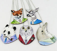 New Funny HipHop Wooden Animal Pendant Chain Wood Necklace