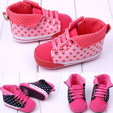 Hot Sweet Heart Dots Pink Rose Red Shoes Infant Newborn Baby Girl Soft Lace Up