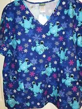 Christmas Cookie Monster Scrubs Scrub Top Shirt Sesame Street XS S M L XL 2X 3X
