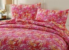 DaDa Bedding Lightweight Bright Colorful Pink Red Quilted Coverlet Bedspread Set