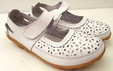 WOMENS Comfort Soft LEATHER FLATS Mary Jane Ankle Strap WALK White SHOES Ladies